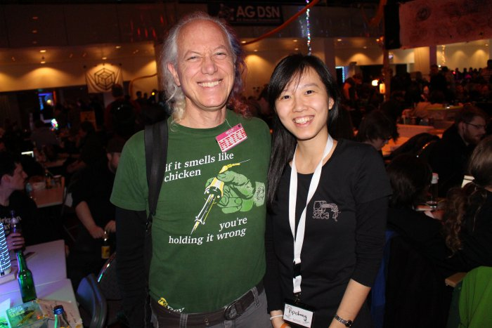 Mitch Altman at Chaos Communication Congress 32C3 with Hong Phuc Dang from FOSSASIA